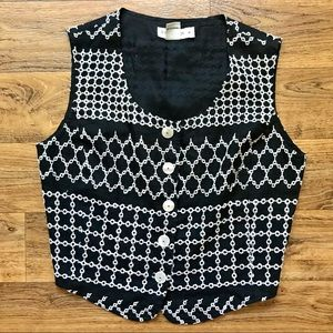 Vintage Embroidered Vest Button Linen Ann Taylor